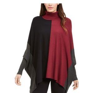 Color block turtle neck poncho Alfani sweater